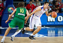 Simas Jasaitis of Lithuania vs Milenko Tepic  of Serbia during the third-place basketball match between National teams of Serbia and Lithuania at 2010 FIBA World Championships on September 12, 2010 at the Sinan Erdem Dome in Istanbul, Turkey. Lithuania defeated Serbia 99 - 88 and win placed third.  (Photo By Vid Ponikvar / Sportida.com)