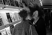 Chigwell Punk Girls in Music Shop, Chigwell, London, UK, 1980s.