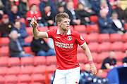 Charlton Athletic midfielder, Johann Berg Gudmundsson (7) with hand in air during the Sky Bet Championship match between Charlton Athletic and Birmingham City at The Valley, London, England on 2 April 2016. Photo by Matthew Redman.