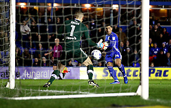 Che Adams of Birmingham City has his shot saved by Robert Green of Leeds United - Mandatory by-line: Robbie Stephenson/JMP - 03/03/2017 - FOOTBALL - St Andrew's Stadium - Birmingham, England - Birmingham City v Leeds United - Sky Bet Championship