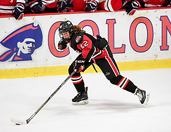 MOON TOWNSHIP, PA - SEPTEMBER 14:  Claire Dalton #42 of the Toronto Jr. Aeros skates with the puck in the second period during the game against the Robert Morris Colonials at the 84 Lumber Arena on September 23, 2016 in Moon Township, Pennsylvania. (Photo by Justin Berl)