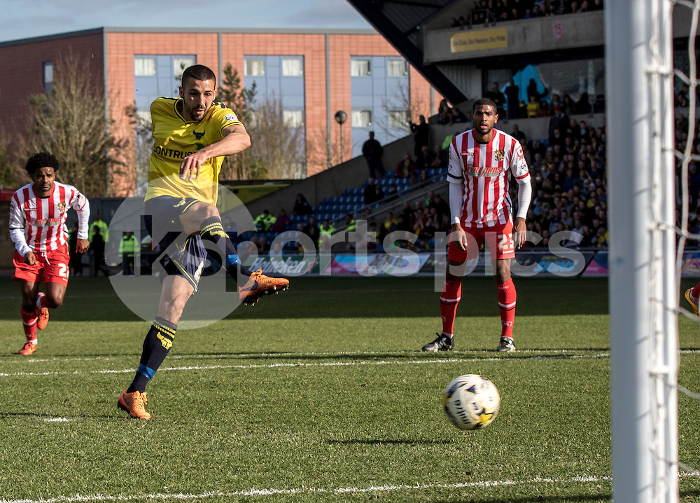 Liam Sercombe of Oxford United fires in his penalty which was saved by Goalkeeper Jamie Jones of Stevenage during the Sky Bet League 2 match between Oxford United and Stevenage at the Kassam Stadium, Oxford, England on the 25th March 2016. Photo by Liam McAvoy.