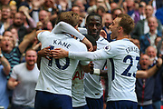 Tottenham Hotspur celebrate their goal by Tottenham Hotspur midfielder Erik Lamela (11) during the Premier League match between Tottenham Hotspur and Leicester City at Wembley Stadium, London, England on 13 May 2018. Picture by Toyin Oshodi.