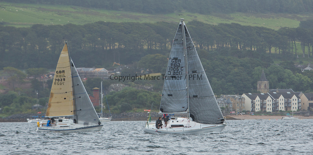 Caledonia MacBrayne Largs Regatta Week 2016<br /> <br /> 2 handed race - Class 4 - Farr e Nuff and Finding Nemo<br /> <br /> Credit Marc Turner / PFM Pictures.co.uk