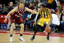 09.12.2017, Audi Dome, Muenchen, GER, EasyCredit BBL, FC Bayern Muenchen Basketball vs MHP Riesen Ludwigsburg, 12. Runde, im Bild Zweikampf zwischen Anton Gavel (Muenchen) und Kerron Johnson (Ludwigsburg) // during the easyCredit Basketball Bundesliga 12th round match between MHP Riesen Ludwigsburg and 12.Spieltag at the Audi Dome in Muenchen, Germany on 2017/12/09. EXPA Pictures &copy; 2017, PhotoCredit: EXPA/ Eibner-Pressefoto/ Marcel Engelbrecht<br /> <br /> *****ATTENTION - OUT of GER*****