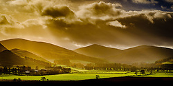 Misty autumn sunshine in the Tweed valley neat Broughton, Scottish Borders<br /> <br /> (c) Andrew Wilson | Edinburgh Elite media