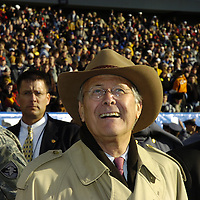 02 December 2006:  Outgoing Secretary of Defense Donald Rumsfeld acknowledges the crowd from the field before the start of the 107th Army Navy game on December 2, 2006.  The Navy Midshipmen defeated the Black Knights of Army 26-14 at Lincoln Financial Field in Philadelphia, Pennsylvania.