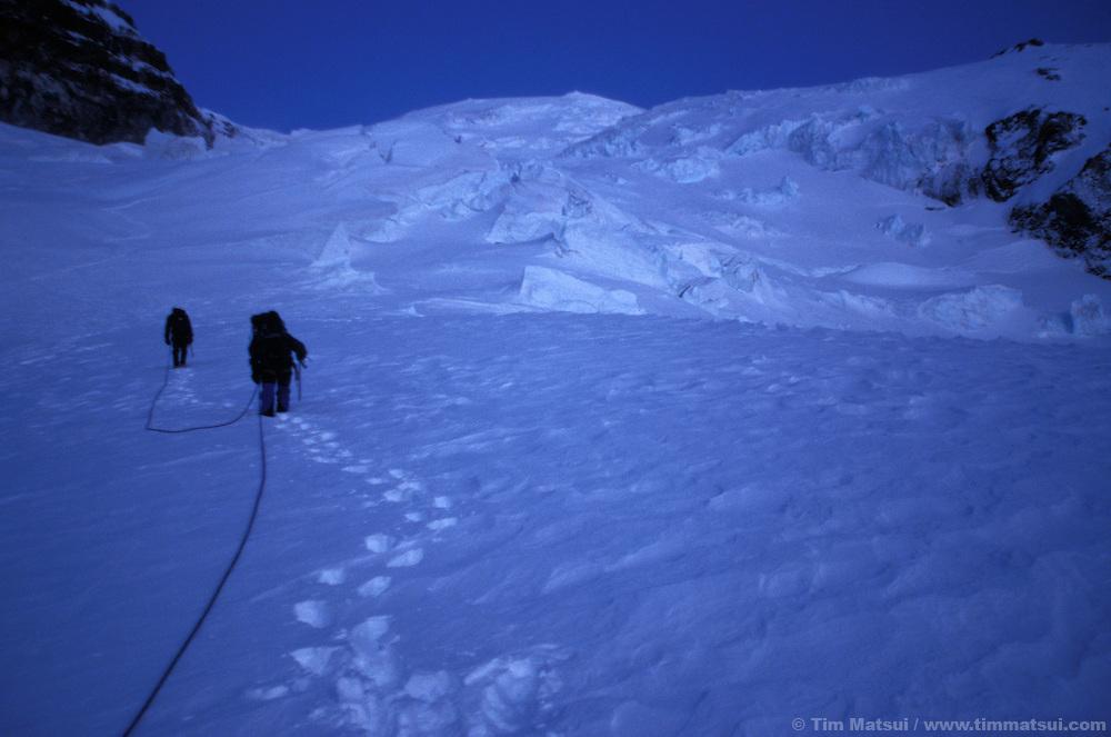Pre-dawn light on a winter ascent of Mt. Rainier via the Ingraham Glacier Direct.