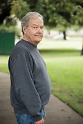 Rodger Kelso poses for a portrait outside a polling location in Dallas, Texas on November 8, 2016. Kelso, a veteran and senior citizen voted for Hilary Clinton based on her experience and desire to bring people together opposed to Trump who is pushing people apart. Aside from the presidential election he is interested in the race for Texas Railroad Commissioner where he voted for Lib. Mark Miller because he's the only candidate with a background as a petroleum engineer. (Cooper Neill for The Texas Tribune)