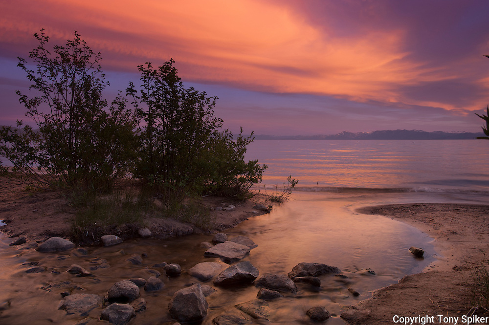 """""""Kings Beach Sunset at Griff Creek 2"""" - This photograph was taken at sunset where Griff Creek flows into Lake Tahoe at Secline Beach"""