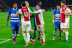 13-03-2019 NED: Ajax - PEC Zwolle, Amsterdam<br /> Ajax has booked an oppressive victory over PEC Zwolle without entertaining the public 2-1 / Darryl Lachman #29 of PEC Zwolle, Dusan Tadic #10 of Ajax, Diederik Boer #1 of PEC Zwolle, Nicolas Tagliafico #31 of Ajax, Gustavo Hamer #6 of PEC Zwolle, Klaas Jan Huntelaar #9 of Ajax
