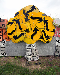 Aug.19, 2017 - Meadville, Pennsylvania, U.S. -  In collaboration with the Pennsylvania Department of Transportation, Allegheny College art students repurposed used street signs as art materials to create the PennDOT Road Sign Sculpture Garden. The sculptures decorate the walls of the Department of Transportation facilities on Route 19.(Credit Image: © Brian Cahn via ZUMA Wire)