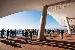 Elbphilharmonie, Hamburg, Germany; Viewing platform at  new opera house in Hamburg, Germany.