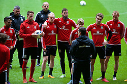CARDIFF, WALES - Saturday, March 26, 2016: Wales' Chris Gunter, Jonathan Williams, Joe Ledley, Tom Bradshaw, Shaun MacDonald during a training session at the Millennium Stadium ahead of the International Friendly match against Ukraine. (Pic by David Rawcliffe/Propaganda)