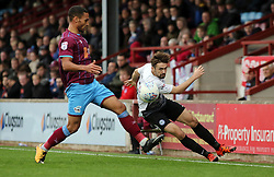 Gwion Edwards of Peterborough United in action with Jordan Clarke of Scunthorpe United - Mandatory by-line: Joe Dent/JMP - 21/10/2017 - FOOTBALL - Glanford Park - Scunthorpe, England - Scunthorpe United v Peterborough United - Sky Bet League One