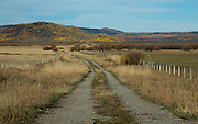 Idaho, Southeastern, Soda Springs. Dirt road into the Grays Lake Wildlife Refuge in autumn.