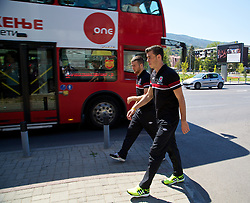 SKOPJE, MACEDONIA - Friday, September 6, 2013: A red bus passes as Wales' Gareth Bale joins his team-mates for a pre-match walk outside the team hotel in Skopje ahead of the 2014 FIFA World Cup Brazil Qualifying Group A match against Macedonia. (Pic by David Rawcliffe/Propaganda)
