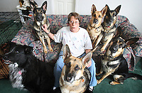 JEROME A. POLLOS/Press..Kat Peterson has been training German Shepherds for about 30 years. One of her pups has become the first drug-sniffing dog working for the Idaho County Sheriff's Office in Grangeville.