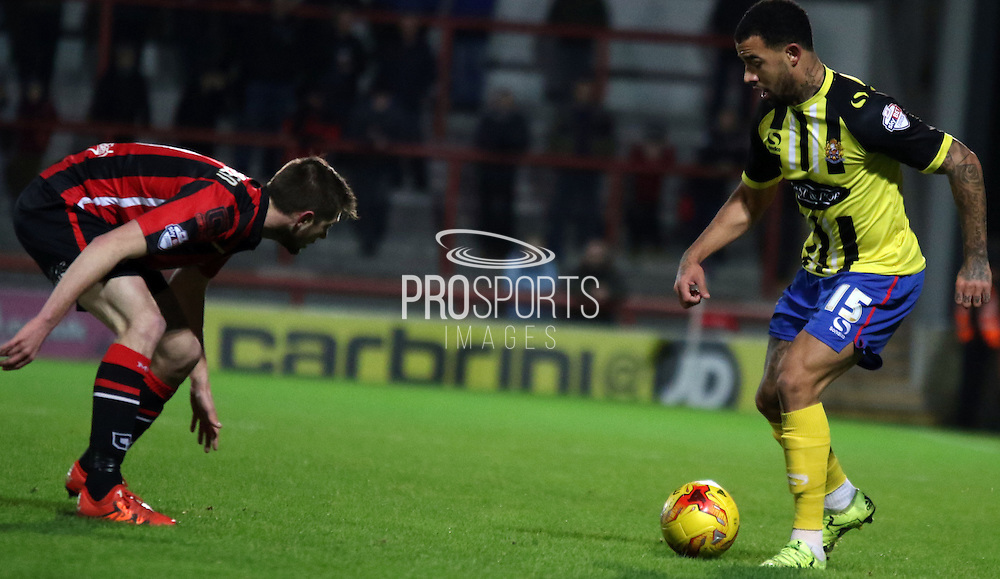 Kyle Vassell during the Sky Bet League 2 match between Morecambe and Dagenham and Redbridge at the Globe Arena, Morecambe, England on 1 December 2015. Photo by Pete Burns.