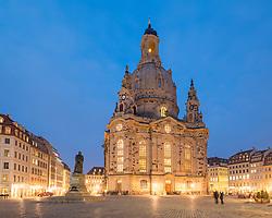 Night view of Frauenkirche in Neumarkt in Dresden, Germany