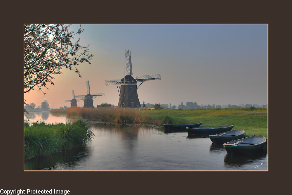 Windmills in Holland, photographed at first light