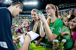 Slovenian players with fans during basketball match U18 All Star Game 2013 at Day 18 of Eurobasket 2013 on September 21, 2013 in SRC Stozice, Ljubljana, Slovenia. (Photo By Urban Urbanc / Sportida)