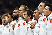 The French team sing the national anthem before the international match between France and South Africa at Stade Municipal on November 13, 2009 in Toulouse, France.