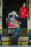 KELOWNA, BC - DECEMBER 27: Rocky raccoon the mascot of the Kelowna Rockets poses for a photo with a fan against the Kamloops Blazers at Prospera Place on December 27, 2019 in Kelowna, Canada. (Photo by Marissa Baecker/Shoot the Breeze)