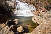 Lower Graveyard Falls waterfall in Blue Ridge National Park in autumn outside Asheville, North Carolina.