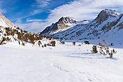 Sierra peaks from Piute Pass in winter, Inyo National Forest, Sierra Nevada Mountains, California