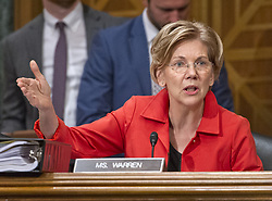 "October 3, 2017 - Washington, District of Columbia, United States of America - United States Senator Elizabeth Warren (Democrat of Massachusetts) questions Timothy J. Sloan, Chief Executive Officer and President, Wells Fargo & Company, as he testifies before the US Senate Committee on Banking, Housing, and Urban Affairs as they conduct a hearing entitled, ""Wells Fargo: One Year Later'' on Capitol Hill in Washington, DC on Tuesday, October 3, 2017. .Credit: Ron Sachs / CNP (Credit Image: © Ron Sachs/CNP via ZUMA Wire)"
