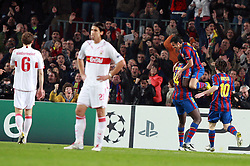 17-03-2010 VOETBAL: BARCELONA - VFB STUTTGART: BARCELONA<br /> Pedro Fernandez celebrates with Toure Yaya and Lionel Messi as VfB Stuttgart Sami Khedira and Georg Niedermeier look dejected<br /> ©2010- FRH-nph / Tati Quinones