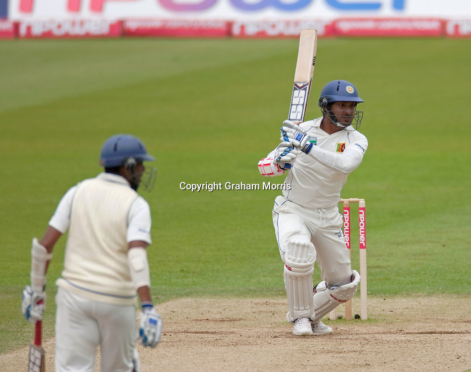 Kumar Sangakkara bats during his century in the third npower Test Match between England and Sri Lanka at the Rose Bowl, Southampton.  Photo: Graham Morris (Tel: +44(0)20 8969 4192 Email: sales@cricketpix.com) 20/06/11