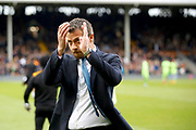 Fulham First Team Head Coach Slavisa Jokanovic applauds the Fulham fans during the EFL Sky Bet Championship match between Fulham and Wolverhampton Wanderers at Craven Cottage, London, England on 18 March 2017. Photo by Andy Walter.