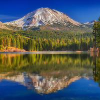 Mt. Lassen reflected in Manzanita Lake in late autumn, Lassen Volcanic National Park, California.