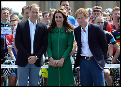 Image ©Licensed to i-Images Picture Agency. 05/07/2014. Yorkshire, United Kingdom. The Royals attend the Tour De France -The Duke and Duchess of Cambridge and Prince Harry attend the Tour De France Grand Depart. Their Royal Highnesses  meet cyclists as they line up at Harewood House for the Ceremonial Start, and officially start the race. Picture by Andrew Parsons / i-Images
