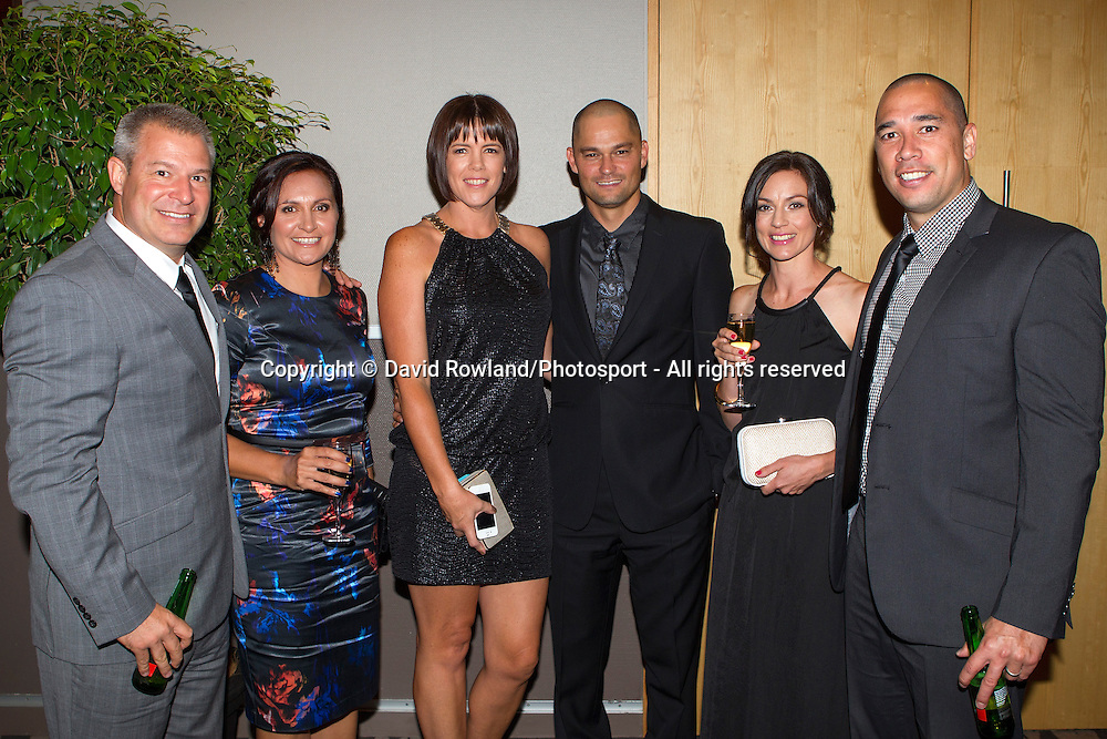 Dean and Christy Vickerman, Judd and Melissa Flavell, Paul and Lisa Henare  at the Skycity Breakers Awards, 2013-14, Skycity Convention Centre, Auckland, New Zealand, Friday, March 28, 2014. Photo: David Rowland/Photosport