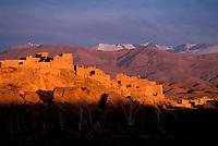 Maroc - Haut Atlas - Vallée du Dadès - Kasbah dans la vallée d'El Kelaâ M'Gouna