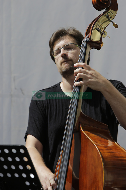 June 18, 2017 - Worms, Rhineland-Palatinate, Germany - Fedor Ruskuc from the Konrad/Mehl Project plays the bass live on stage at the 2017 Jazz and Joy Festival in Worms in Germany. (Credit Image: © Michael Debets/Pacific Press via ZUMA Wire)