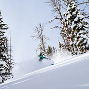 Max Martin finds the powder goods after a major winter storm in the Teton backcountry.