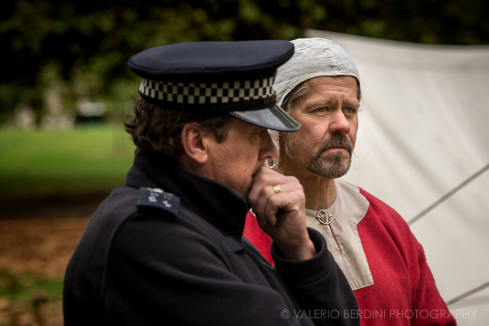 ...a policeman is even more worried for the battle. It's been 950 years since King Harold got an arrow in the eye at the Battle of Hastings. A group of re-enactors set up a camp near Apsley House in Hyde Park, London, to show their weapons, games and living arrangements.