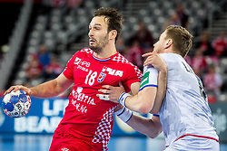 Karacic Igor (CRO) during handball match between National teams of Croatia and Czech Republic in 5/6 placement match of Men's EHF EURO 2018, on January 26, 2018 in Arena Zagreb, Zagreb, Croatia. Photo by Men's EHF EURO 2018 in Croatia, half final match in Zagreb: France vs Spain / Sportida
