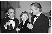 Mr. and Mrs. Ian McEwan  and Julian Barnes, 1998 Booker prize evening. Guildhall. Gresham St. London EC@. 27/10/98. SUPPLIED FOR ONE-TIME USE ONLY> DO NOT ARCHIVE. © Copyright Photograph by Dafydd Jones 66 Stockwell Park Rd. London SW9 0DA Tel 020 7733 0108 www.dafjones.com