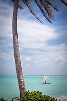 Local fishermen go to sea in handmade dugout in a lonely sparsely populated atoll in the marshall islands