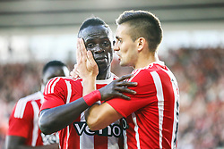 Southampton 2-0 Vitesse Arnhem, Sadio Mane of Southampton congratulation Dusan Tadic of Southampton on his goal - Mandatory by-line: Jason Brown/JMP - Mobile 07966386802 - 31/07/2015 - SPORT - FOOTBALL - Southampton, St Mary's Stadium - Southampton v Vitesse Arnhem - Europa League