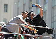 CAPE TOWN, SOUTH AFRICA - OCTOBER 17: Wayde van Niekerk takes a selfie with Johan Botha during the Cape Town celebrates our 2016 Olympic Athletes event at Green Point Athletics Track on October 17, 2016 in Cape Town, South Africa. (Photo by Roger Sedres/Gallo Images)