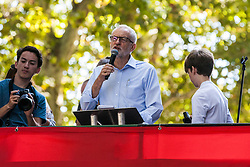 London, UK. 20 September, 2019. Jeremy Corbyn, Leader of the Opposition, addresses thousands of students and climate campaigners taking part in the second Global Climate Strike in protest against a lack of urgent action by the UK Government to combat the global climate crisis. The Global Climate Strike grew out of the Fridays for Future movement and is organised in the UK by the UK Student Climate Network.