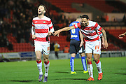 Andy Williams of Doncaster Rovers celebrates his goal with Nathan Tyson of Doncaster Rovers to go 2-0 up during the Sky Bet League 1 match between Doncaster Rovers and Chesterfield at the Keepmoat Stadium, Doncaster, England on 24 November 2015. Photo by Ian Lyall.