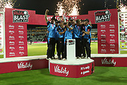 Worcestershire Rapids Moeen Ali raises the winners trophyduring the final of the Vitality T20 Finals Day 2018 match between Worcestershire rapids and Sussex Sharks at Edgbaston, Birmingham, United Kingdom on 15 September 2018.