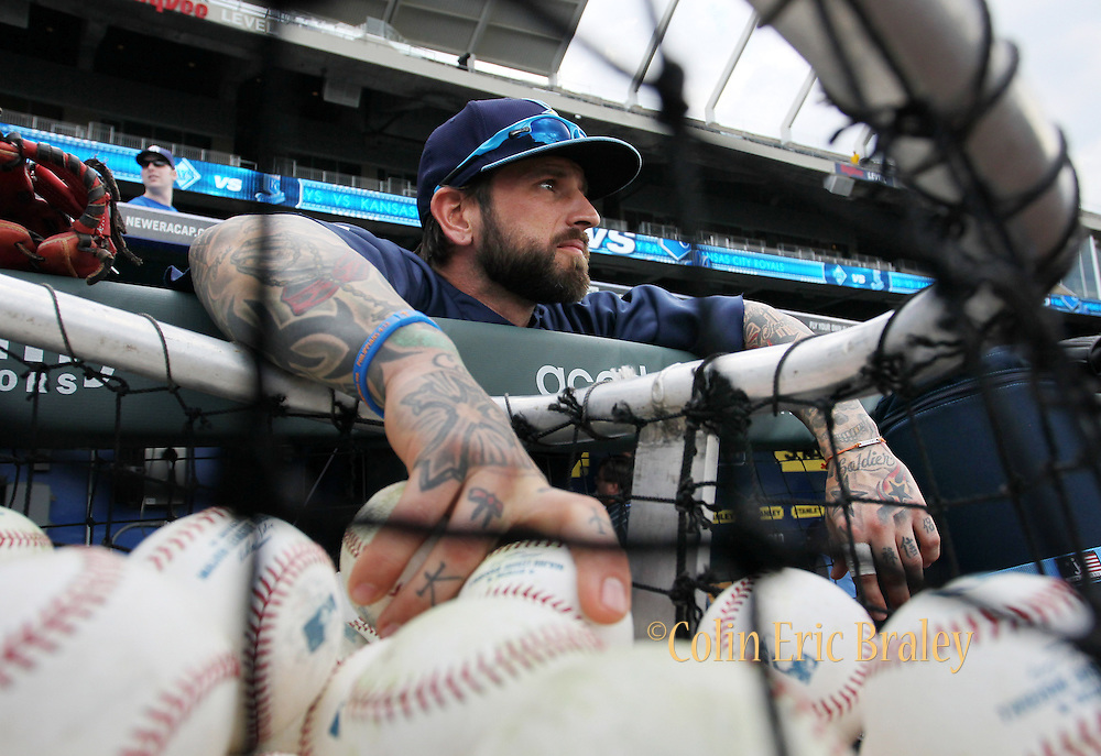Tampa Bay Rays Ryan Roberts (19) looks out from the dugout before the Rays baseball game against the Kansas City Royals at Kauffman Stadium in Kansas City, Mo., Wednesday, May 1, 2013.  (AP Photo/Colin E. Braley).